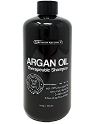 Argan Oil Shampoo, Hydrate and Restore Hair with 100% Natural Moroccan Argan Oil, Keratin and Biotin, Color Safe, Sulfate Free and Paraben Free by Pure Body Naturals, 16 Ounce