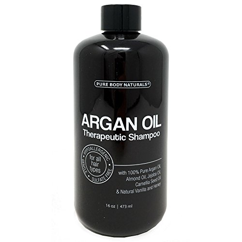 Argan Oil Shampoo, Hydrate and Restore Hair with 100% Natural Moroccan Argan Oil, Keratin and Biotin, Color Safe, Sulfate Free and Paraben Free by Pure Body Naturals, 16 Ounce - Therapeutic Natural Shampoo