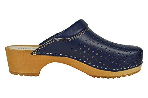 Buxa Unisex Holz und Leder Clogs mit Polsterung und Loch Design Denim Blau