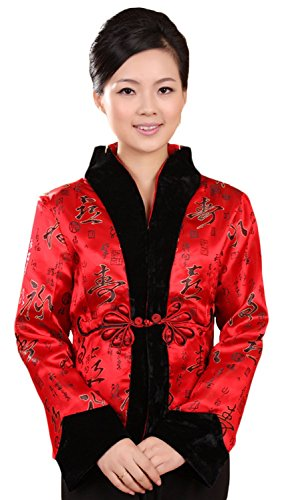 [AvaCostume Women's Chinese New Year Brocade Jacket Tang Suit Qipao Coat Size US 10 Red] (New Years Costumes)