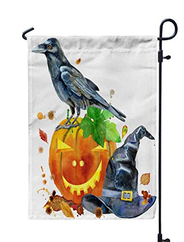 HerysTa Spring Garden Flag, Decorative Yard Farmhouse Holiday Banner 12 x 18 inches Watercolor Halloween Holiday Isolated White Background Pumpkin Raven Witch Hat Double-Sided Seasonal Garden Flags]()