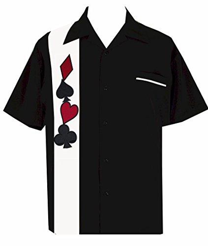 BeRetro Men'sShort-Sleeve Gambling Poker Shirt ~Wild Card Suit Casino (Vegas Bowling Shirt)