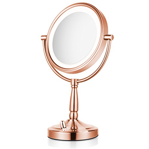 Lighted Makeup Mirror - 8'' LED Vanity Mirror 5x Magnification Double Sided Mirror Battery Operated Rose Gold Finish ALHAKIN - Rose Mirror