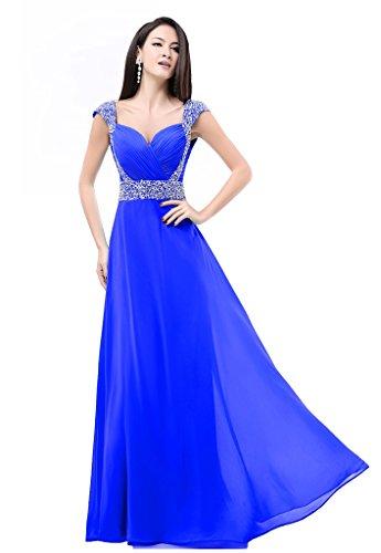 Da Eleganti Sera Chiffon Ed Cerimonie Blue Per Abito In Eventi Royal Lungo Donna Balllily TRx65wqW
