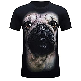 Dog Print T Shirt Donci Round Neck Collar Slim Casual Tees Exercise and Fitness Quick Dry Short Tops