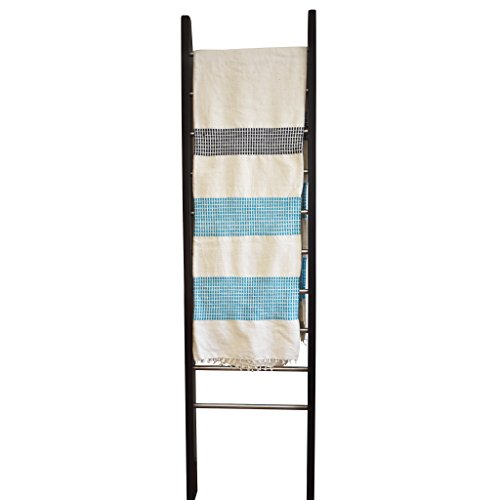 """Creative Women Minimalist Africa Design Soft Premium Ethiopian Cotton Throw Blanket Natural Handmade for Couch Sofa or Bed - Modern Quality High End Home Decor Gift 56"""" x 78"""" [Large] (Aqua/Navy)"""