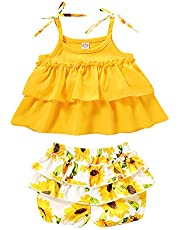 2PCS Toddler Baby Girl Summer Outfits Bow Halter Crop Tops Ruffle Sunflower Printed Shorts Clothes Set