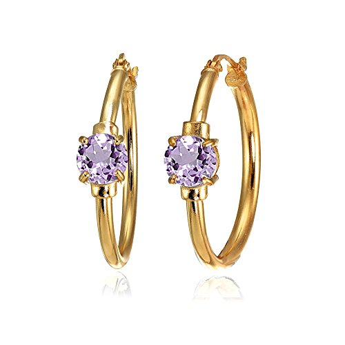 Rose Gold Flashed Sterling Silver Amethyst Solitaire 25mm Hoop Earrings