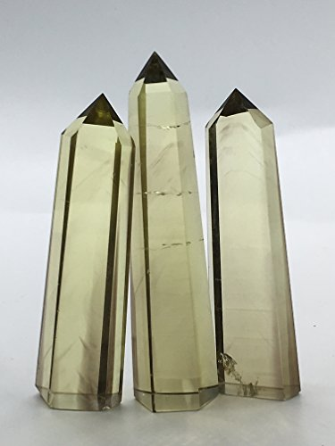 3PCS Natural Quartz Crystal Yellow Citrine Point Wand Healing As Gifts
