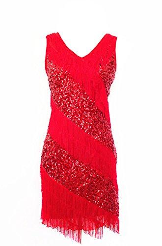 Stylishelf Women's V Neck Sequins Tiered Tassels Swing Rhythm Latin Dance Dress (One size, Red) (Sexy Ballroom Dress)