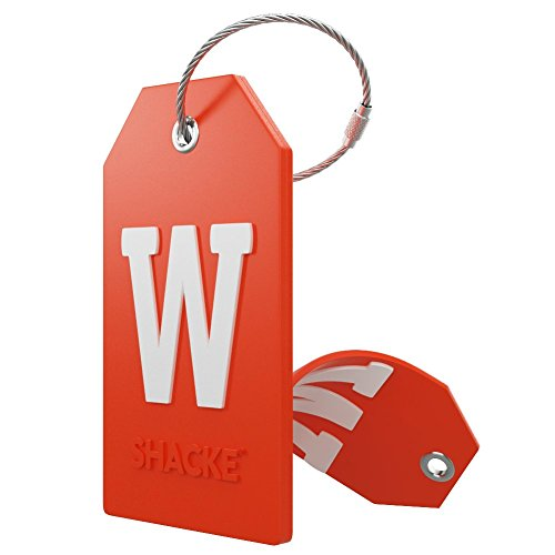 - Initial Luggage Tag with Full Privacy Cover and Stainless Steel Loop - (Letter W)