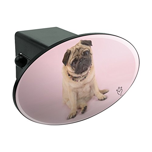 """Graphics and More Pug Puppy Dog Sitting Pink Necklace Oval Tow Hitch Cover Trailer Plug Insert 2"""""""