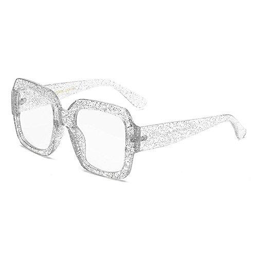 Gafas Hombres Viajar Borde Unisex de Protección de de Elegante señora Gafas Sol la de Gafas Sol Color con Mujeres Sol Gran UV Negro para Grandes para Plata y de tamaño cuadradas qnzawUp