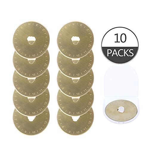 Titanium Coated Rotary Cutter Blades 45mm 10 Pack Replacement Blades Fits Fiskars, Olfa, Gingher DAFA Quilting Scrapbooking Sewing Arts Crafts,Sharp and Durable