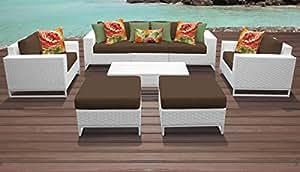 TK Classics miami-08a-cocoa Miami 8piezas al aire libre mimbre muebles de jardín de 08A con 2fundas: vela blanco y