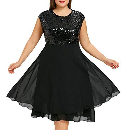 Fringe Shift Dress - Yucode Women Solid Sequined O-Neck Plus Size Sleeveless Chiffon Dress Casual Knee-Length Summer Dress Black