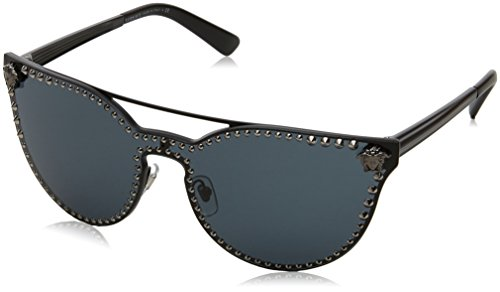 Versace Women's Rock Brow Bar Sunglasses, Matte Black/Grey, One - Versace Glasses Rimless