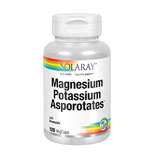 (Solaray Magnesium and Potassium Asporotates w/ Bromelain | Healthy Electrolyte, Muscle, Heart & Cellular Support | 60 Servings | 120 VegCaps)