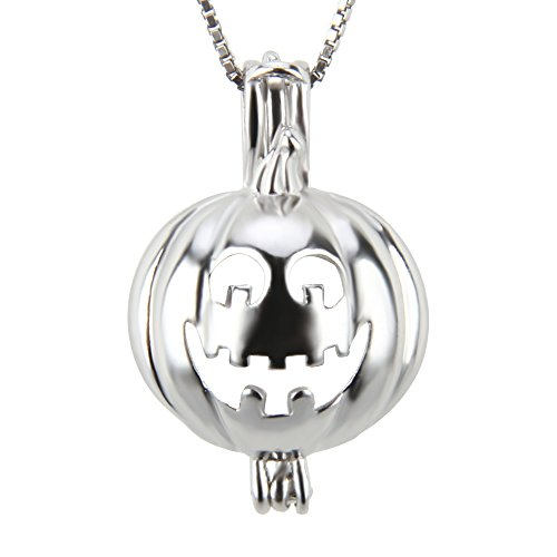 925 Sterling Silver Halloween Pumpkin Pendant Charms Pearl Cage DIY Jewelry Making Essential Oil Diffuser Lockets Lave Stone Holders for Women Jewelry