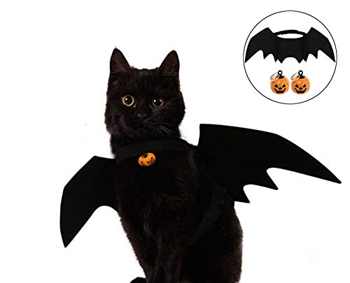 IFAXNN Cat Costume Halloween Bat Wings Pet Costumes Pet Apparel Small Dogs Cats(Free 2 Halloween Bell)