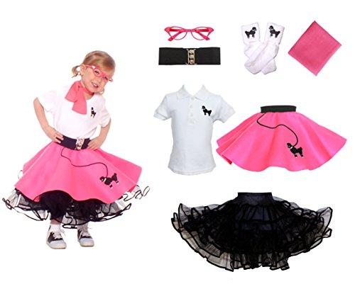 Hip Hop 50s Shop Toddler 7 Piece Poodle Skirt Costume Set Hot Pink 3T (Pink Poodle Baby Costume)