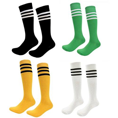 Kids Soccer Socks 4 Pack Boys Girls Cotton Team Socks Teens Children Soccer Socks (Shoe size 1-5 and Ages 8-11, Rainbow4)