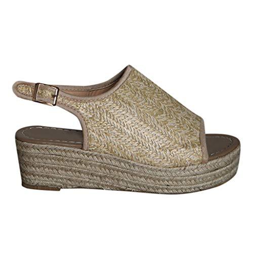 Women Platform Wedge Sandals Casual Espadrilles Open Toe Ankle Thick Heel Roman Ladies Shoes Brown