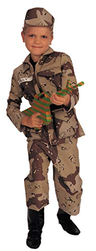 Young Heroes Deluxe Child Special Forces Costume,Brown camo, Medium