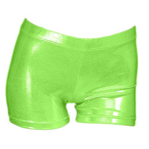 ZIZI Little Big Girls' Sparkle Dance Tumbling Athletic Gymnastics Green Short 3-4T]()