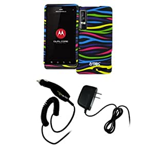 EMPIRE Black with Multi Zebra Stripes Rubberized Design Hard Case Cover + Car Charger (CLA) + Home Wall Charger for Verizon Motorola DROID 3 XT883