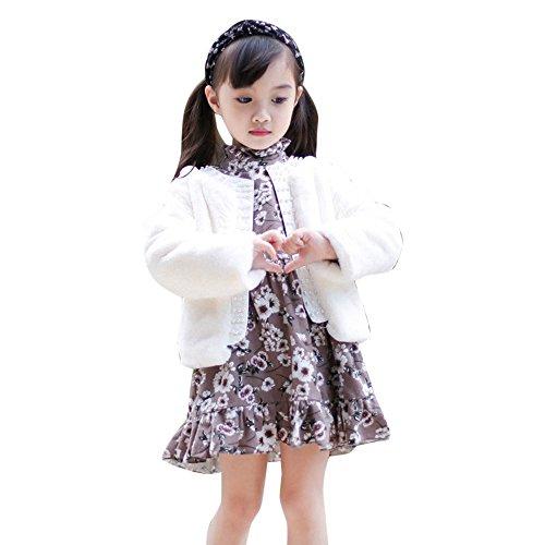 Sameno Junior Kids Toddler Girl Faux Fur Furry Coat Warm Winter Outwear Jacket Overcoat Luxury Fuzzy Fleece Outfits 3-6T White (Fur Nintendo 64)