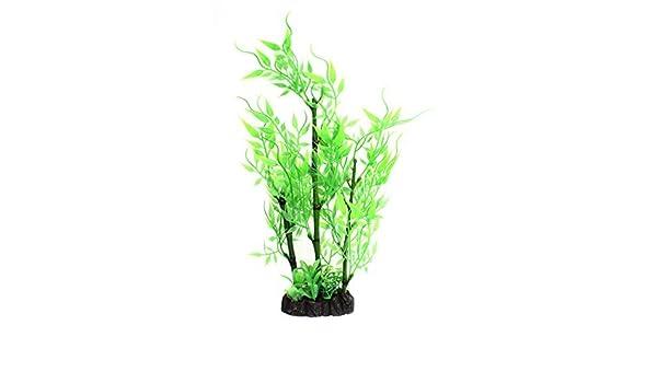 DealMux plástico acuario artificial de agua de bambú planta de la hierba verde de alta 28cm: Amazon.es: Productos para mascotas
