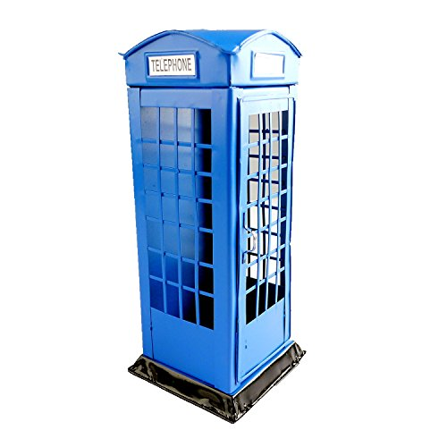 Chadstone Saving Coin Piggy Phone Booth Craft Coin Storage Box London Vintage Style Cash Money Bank ()