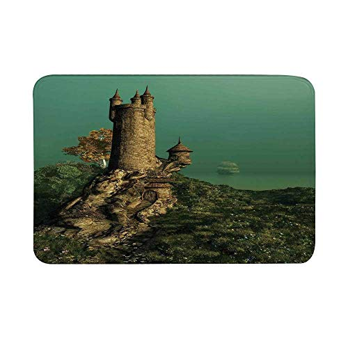 TecBillion Medieval Non Slip Door Mat,Tower of Magician on Hill with Flower Meadow Greenery Fairytale Design Floor Mat for Bathroom Living Room,23