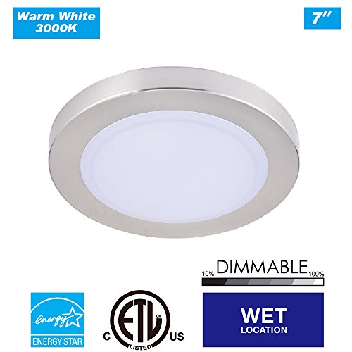 Cloudy Bay LMFFM712830BN 7.5 inch LED Mini Flush Mount Ceiling light 3000K Warm White Dimmable 12W 840lm -100W Incandescent Fixture Equivalent, bathroom hallway stairway lighting , Wet Location