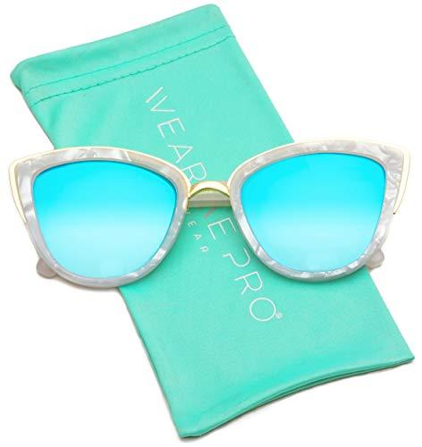 (Womens Cat Eye Mirrored Revo Reflective Lenses Oversized Cateyes Sunglasses (White Marble/Mirror Blue Lens, 54))