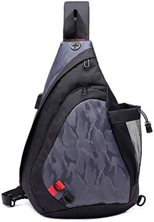 FANDARE Leicht Brusttasche Sling Rucksack Schultertasche mit USB Chest Bag Crossbody Umhängetasche Sporttasche für Herren Damen Junge Reise Crossover Daypack Wandern Bergsteigen Polyester Schwarz Grau