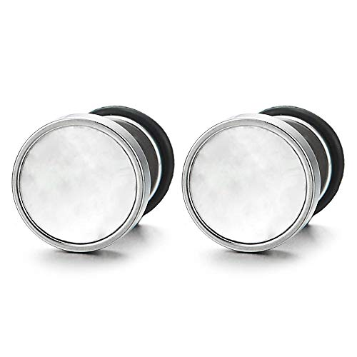 Mens Women Mother of Pearl Circle Stud Earrings, Steel Cheater Fake Ear Plugs Gauges Illusion - Earrings Pearl Circle Of Mother
