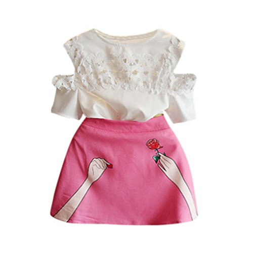vermers Hot Sale Toddler Set Outfits Baby Kids Girls Clothes Floral Lace Tops+Skirt 2pcs(3T, White) -