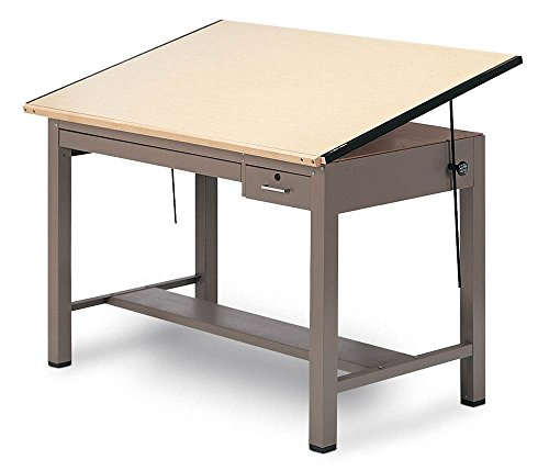 Ranger Steel Four Post Table w Tool and Shallow Drawers (43.5 in. L x 84 in. W) - Steel Four Post Drafting Table