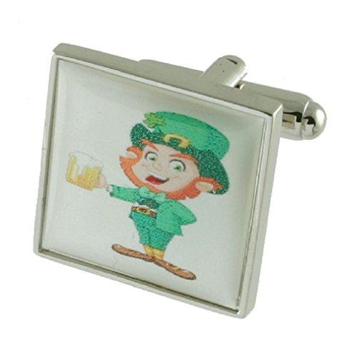 Boutons de manchette Boutons de manchette Leprechaun ~ ~ irlandais chanceux ~ Fête St Patrick Select Pouch cadeau