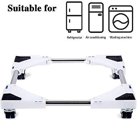 Base móvil multifuncional Smonter con 4 ruedas giratorias dobles de goma con bloqueo, para lavadora, secador y refrigerador