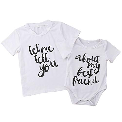 Newborn Baby Boys Shot Sleeve Tops Let Me Tell You Printed T-Shirt Tees&About My Best Friend Printed Romper Jumpsuit (0-3M, Romper)