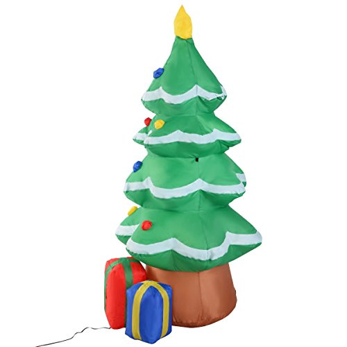 EnjoyShop 4 ft Waterproof Inflatable Christmas Tree Decoration Outdoor Art Airblown Minion Decor Foot Gift Boxes Garden Santa