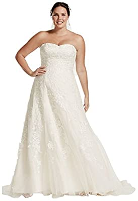 Tulle A-Line Plus Size Wedding Dress with Lace Style 9V3587