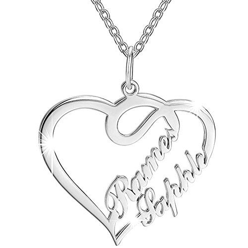 SOUFEEL Custom Name Necklace Sterling Silver Heart Shaped Ne