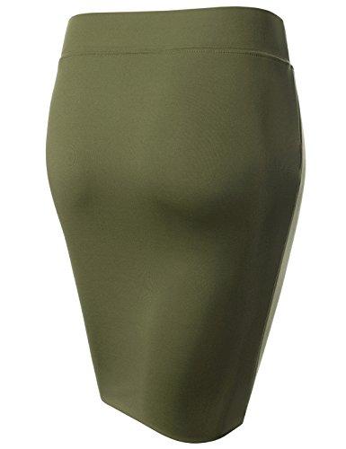 ajust Solid Nearkin Femme Moderne khaki Nknkw5s Jupe pwwqgCxU