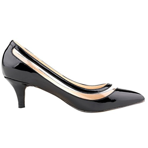 Donna Classico High col Semplice Davanti Scarpa Tacco Nero Heels col Scarpe Donna Scarpe Ritaglio WanYang wq01fAx