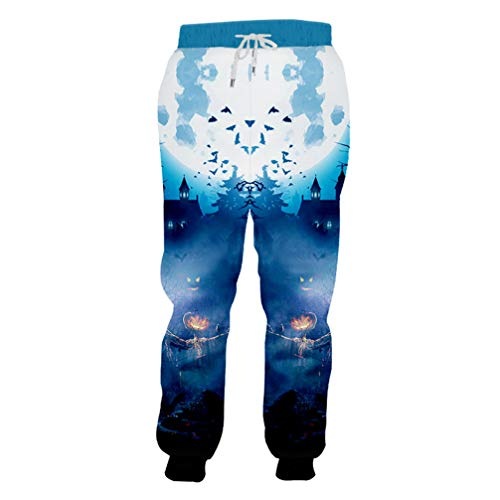 (Halloween Gothic Man Sweatpants 3D Printed Scarecrow Men's Blue Pants)