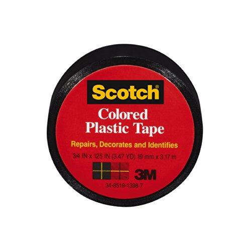 Scotch 190BK Colored Plastic Tape,  3/4 x 125-Inch,  Black